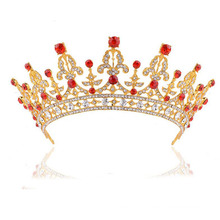 Red Gemstone 18k African Crown And Tiaras Alloy Fashion Gold Crown