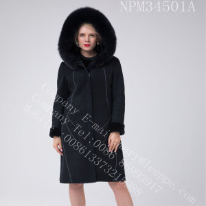 Australien Merino Shearling Coat Bright Thread Decoration