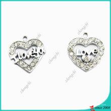 Aleación de Zinc Metal Silver Heart Charm