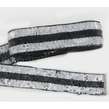 Custom high quality silver sequin black polyester lace fabric trim for dress