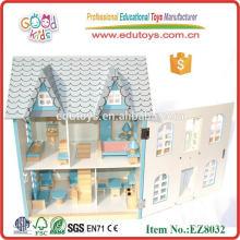 Casa de boneca de madeira para crianças