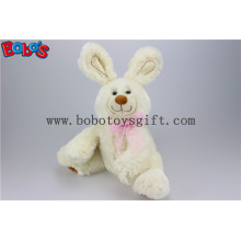 "11""Funny Baby Rabbit Stuffed Animal Toy with Pink Ribbon in Beige Color Bos1148"
