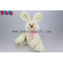 """11 """"engraçado bebê coelho brinquedo de pelúcia com fita rosa em cor bege Bos1148"""