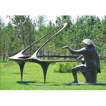 Copper Pianist Sculpture