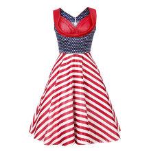 Vestido sin mangas de fiesta de noche vintage de las mujeres de los años 50