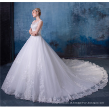 Elegante frisada bordada vestidos de noiva linha com cauda HA546