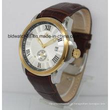 Os relógios de pulso de couro automáticos do ouro da faixa do relógio 5ATM para homens vestem-se