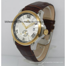 Автоматический Вахта 5atm Кожаный ремешок Золотые наручные часы для мужчины платье