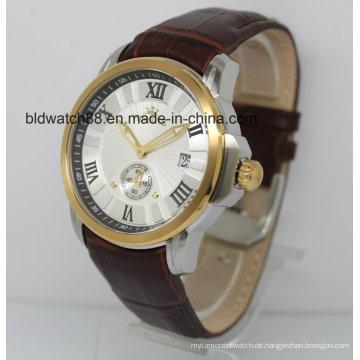 Automatische Uhr 5ATM Lederband Gold Armbanduhren für Männer Kleid