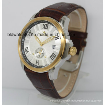 Automatic Watch 5ATM Leather Band Gold Wrist Watches for Men Dress