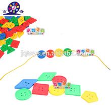 Plástico construção threading blocos de construção brinquedo