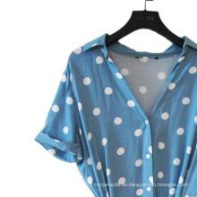 100% Viskose Print Spot V-Ausschnitt Lady Dress