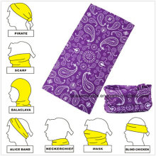 Customized Micro Fiber Purple Paisley Multifunctional Seamless Magic Scarf