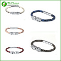 Trendy Genuine Snake Skin Bracelet Northskull Python Leather Bangle 316l Stainless Steel silver Twin Skull Bracelet