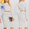 Crop Grid Top & Pencil Skirt Manufacture Wholesale Fashion Women Apparel (TA4001SS)