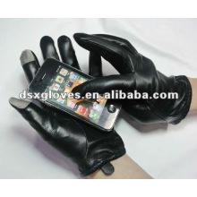 Schwarze Leder-Touchscreen-Handschuhe