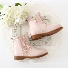 Outono Inverno Sapatos Criança Elegante Princesa Botas Rosa Confortável Design Zipper Botas Crianças