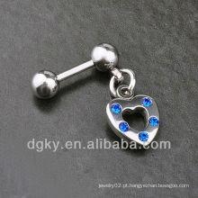 Coração mens diamante brinco parafuso pedra orelha cadeia