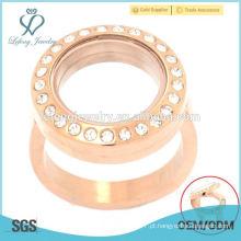 Nova moda em aço inoxidável rosa ouro flutuante locket jóias anel de noivado