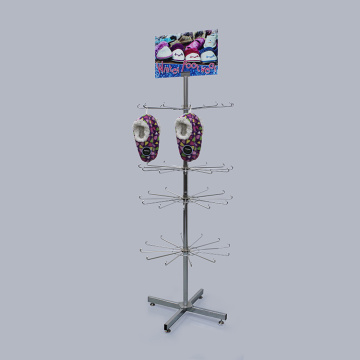 Retail Metal Hanger Skor Display Rack With Wheels