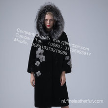 Lady Reversible Hooded Kopenhagen Mink Overcoat