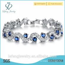 La mejor joyería de la manera de la calidad pulsera azul de las cadenas de la pulsera de las gemas