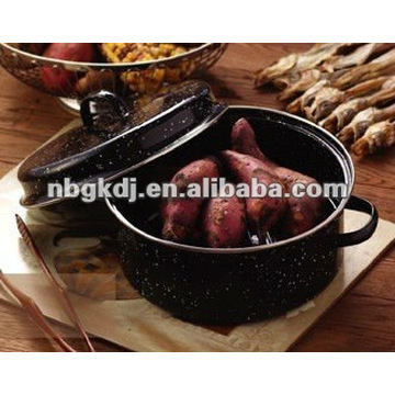 enamel roast pot with matal lid and SS201 grid