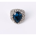Stretch Fashion Jewelry Ring with Resin Stone and Rhinestones