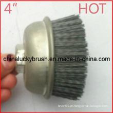 4 polegadas Nylon Abrasivo Cup escova para moagem (YY-355)