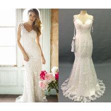 V cuello delicado vestido de la boda de la columna de encaje