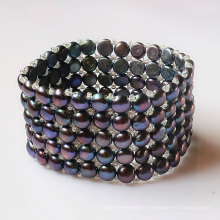 5rows Elastic Black Coin Shape Fashion Pearl Bracelet