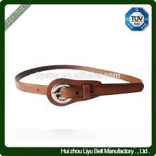 Art und Weise dünnes echtes Leder Brown-Metallwölbungs-Gurt für Kleid / Cintos Moda Mulher cintos de couro