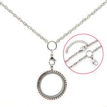 """Изготовленная на заказ нержавеющая сталь 18""""+2"""" серебро двойной круг плавающий подвески медальон кулон ожерелье ювелирные изделия"""