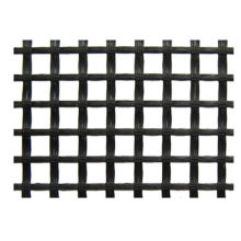 Warp Knitted Polyester Geogrid Black For Runway / Railway Foundation