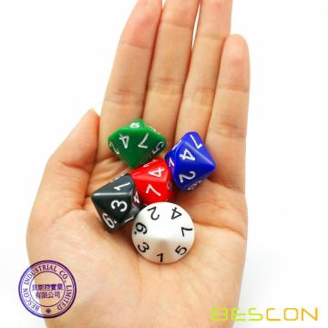 BESCON 5pcs Pack of D14 Dice Numbered 1 to 7 Twice - 14 Sides Dice Assorted Colors of 5 Set