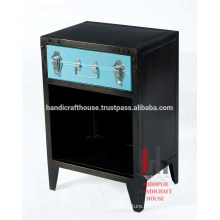 Iron black small storage 1 drawer bedroom furniture nightstand