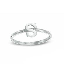Anel de prata da letra do alfabeto S de cobre ambiental da jóia