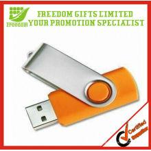 Publicidade de alta qualidade logotipo impresso barata giratória USB Flash Drive