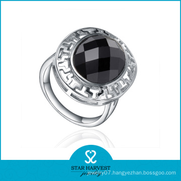Fashion Silver Round Agate Ring (R-0437)