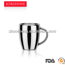 Direct manufacturer double wall stainless steel taper coffee mug with handle