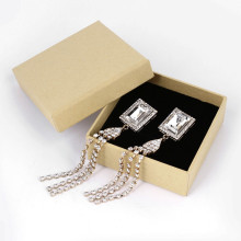 Shiny Diamond Earring Kraft Rigid Jewelry Gift Box