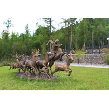 Decoración del jardín artesanías de metal estatua de ciervos de tamaño natural grandes esculturas de bronce al aire libre