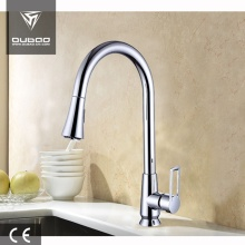 Deck Mounted Chrome One-Handle Pull Down Kitchen Faucet