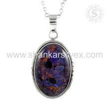 Placid purple turquoise gemstone silver pendant handmade jewelry 925 sterling silver jewellery