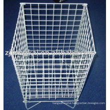 White square high capacity metal wire supermarket display basket for fruit or toy