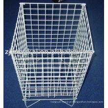 Branco quadrado de alta capacidade metal fio supermercado display cesta para frutas ou brinquedos