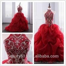 2018 Dramático Quinceanera vestido de cuello de línea rebordeado Appliques rojos Organza quinceanera vestidos ED025201