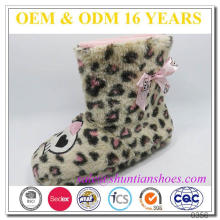 New fashion leopard plush design warm child winter boots with satin bow