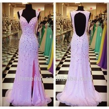 Luxurious Crystals With Rhinestones Formal Evening Gown Cut Out Backless Prom Dress Pink DT10