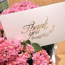 Открытки благодарения золотой фольги конструкции низкой цены изготовленные на заказ с конвертом